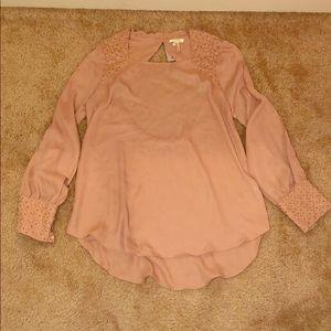 Blush open back blouse